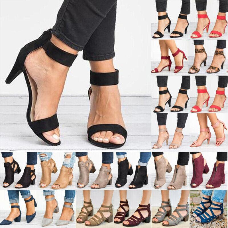 Womens Mid Block Heels Ankle Strap Sandals Wedge Summer Part