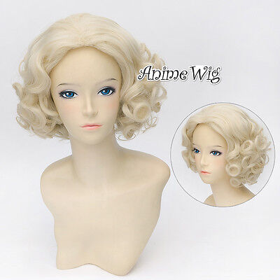 Marilyn Monroe Coslay Blonde Perücke Wig Stylish Show Layered Halloween NEU