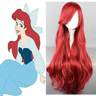 Damen Meerjungfrau Perücken Prinzessin Ariel Cosplay Kostüme Wigs Wellig lockig