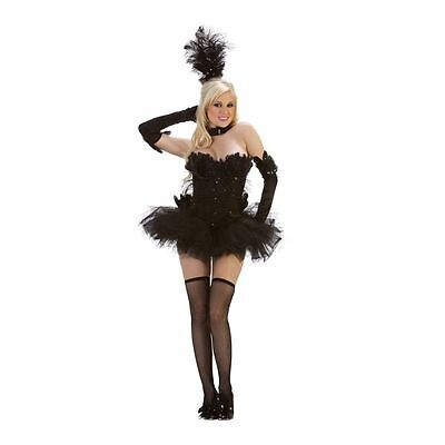 Sexy Black Swan Feather Halloween Mardi Gras Costume Starline BNWT