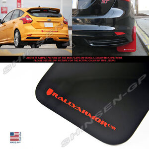 RALLY ARMOR UR MUD FLAPS FOR 2012-2018 FORD FOCUS ST SE HATCHBACK BLACK / RED