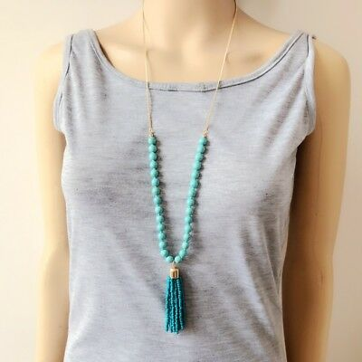 blue turquoise bead gold plated chain beads tassel pendant fashion necklace
