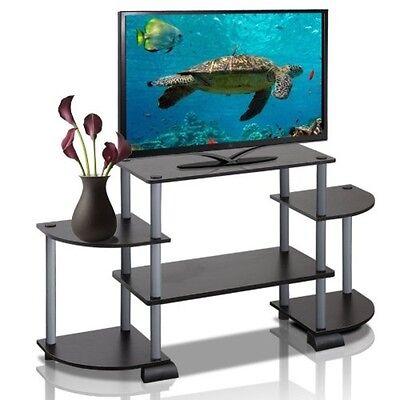 Furinno Turn N Tube Roundedecorner Tv Entertainment Center  Black Grey Tv Stand