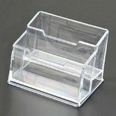 Double Room Clear Acrylic Office Desktop Business Card Holder Display Box Case
