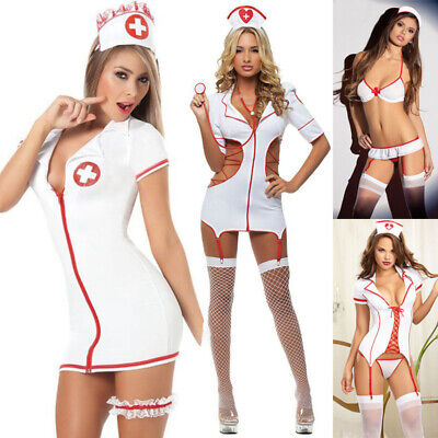 sexy Krankenschwester Kostüm Nurse Outfit mit Haube Kittel Wäschebeutel Kleid - Sexy Krankenschwester Outfit Kostüm