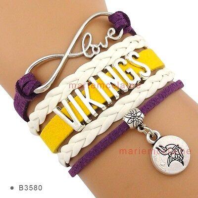 Minnesota Vikings Charm (Minnesota Vikings Infinity Bracelet Football Charm QUALITY NO DROP SHIP FAST)