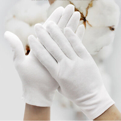 6pairs White Inspection Cotton Work Gloves Coin Jewelry Lightweight S M L Xl