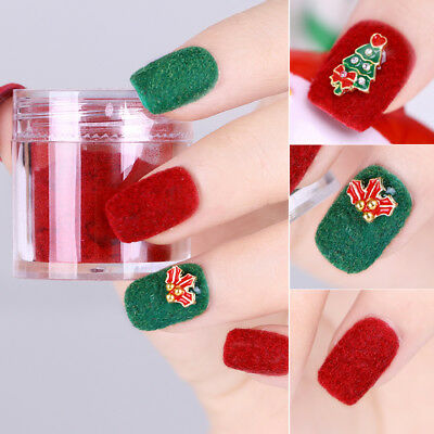 Xmas Halloween Fuzzy Flocking Velvet Nail Glitter Powder Red Green Pigment Tips (Red Glitter Halloween Nails)