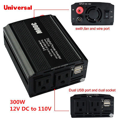 Universal 300W DC 12V AC 110V Vehicle Car Power Inverter Pure Sine Wave Inverter