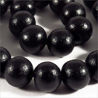 Set di 50 perline rotonde in legno 10mm Nero alta Qualità