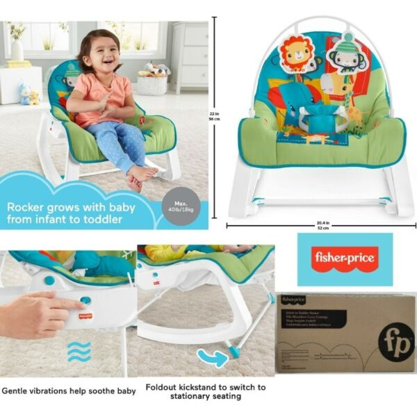 BNIB: Fisher Price Infant to Toddler Rocker Colorful Jungle Baby Rocking Chair with Soothing Toys