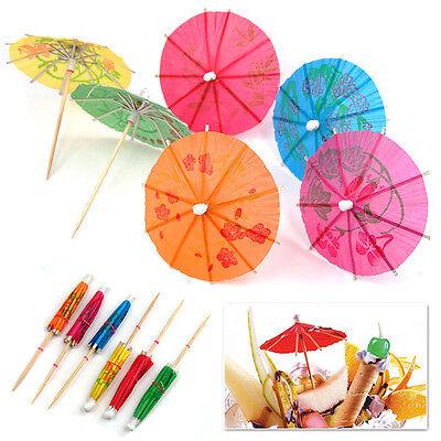 40xPaper Cocktail Parasols Umbrellas Party Wedding Supplies Luau Drink Stick Pop
