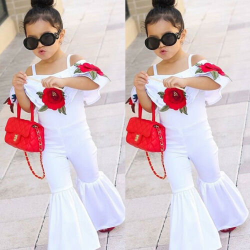 USA Kids Baby Girl Off shoulder Floral Romper Jumpsuits Trousers Outfits Clothes
