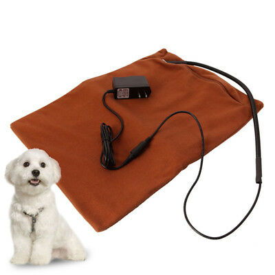 Dog Cat Winter Safe Heated Warmer Bed Pad for Pet Reptile Mat Brown 40℃-45℃