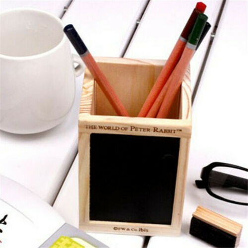 Wood Desk Pen Pencil Holder Cup Stand Square Creative Small