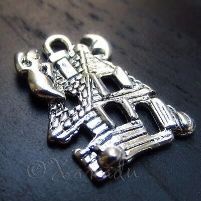 Haunted House Halloween Wholesale Silver Charm Pendants C0474 - 10, 20 Or 50PCs - Halloween Charms Wholesale