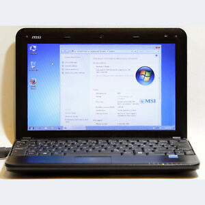 "MSI U100 Netbook Intel Atom WiFi 1GB RAM 80GB HDD 10.1"" Webcam"