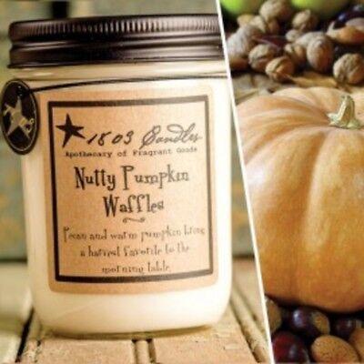 1803 Candles,  14 oz. Soy Jar Candle, Nutty Pumpkin Waffles