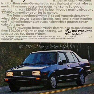 1986 VW Volkswagen Jetta blue classic german car photo vintage print ad poster