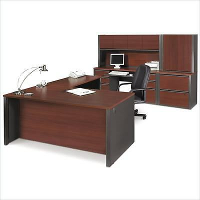 Prestige Reversible L-shape Office Desk Set In Bordeaux