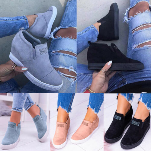 US Women Ladies Casual Sneakers Slip On Pumps Shoes Wedge He