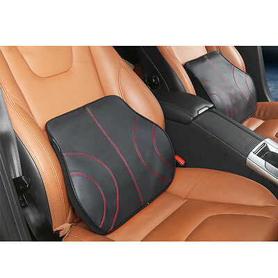 Leather Memory Foam Lumbar Cushion Travel Pillow Ca Seat Home Chair Back Support