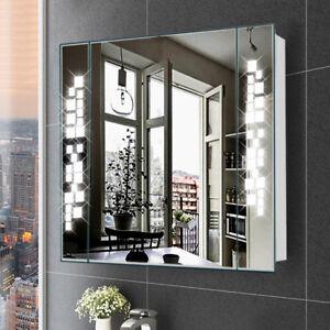 Bathroom Mirror Cabinet Asterism Light With Shaver Socket Sensor Switch Demister