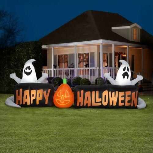 9 Ft Lightshow Micro Lights Sign Happy Halloween w Ghosts Halloween Inflatable