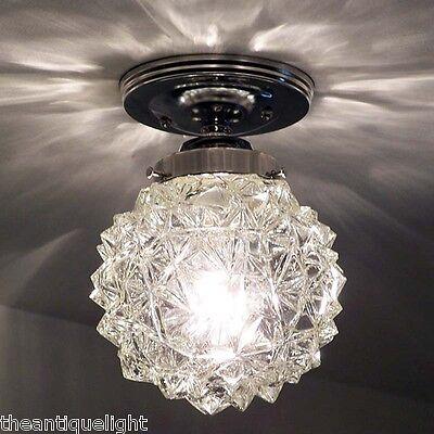 773 Vintage Ceiling Light Lamp Fixture Glass  mid century mod retro bath hall