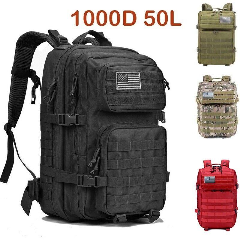 Nylon 50L Men Women Outdoor Military Backpack Tactical Bag Waterproof Rucksacks Camping & Hiking