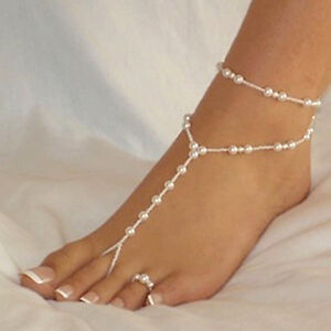 1 White Pearl Ankle Bracelet Toe Ring Anklet Foot Jewelry Slave Chain Beach Set