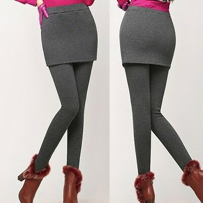 Women's Winter Leggings Mini Skirt Stretch Warm Pants Skirt False Slim Dress US - Skirts Leggings