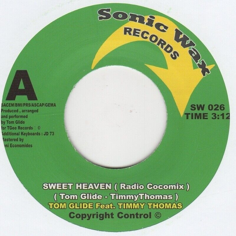 Tom Glide feat Timmy Thomas Sweet Heaven  Sonic Wax SW 026 Soul Northern motown