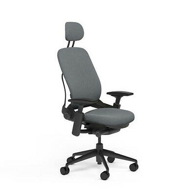 Steelcase Adjustable Leap Desk Chair Headrest - Grey Buzz2 Fabric Black Frame