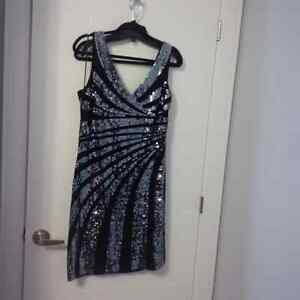 Black and Silver Sequin Cocktail Dress or Black Cocktail Dress