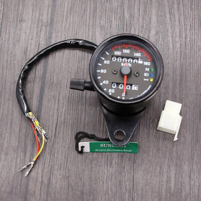 UK Motorcycle LED Background Light Dual Odometer Speedometer Gauge Universal 12V