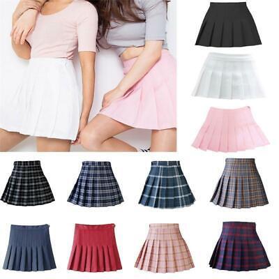 Frauen Tennis Hohe Taille Plaid Skater Ausgestelltes Plissee Kurz Minirock Kleid - Hohe Taille Mini