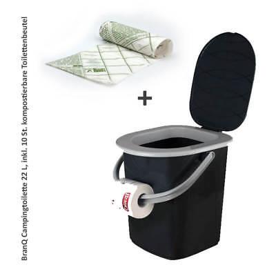Campingtoilette, Reise-WC, Toiletteneimer 22L +10 kompostierbare Toilettenbeutel