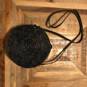Black Handmade Rattan Round Crossbody Purse