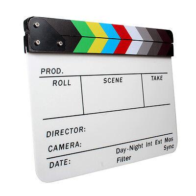 Acrylic Clapperboard Dry Erase Director TV Film Movie Slate 30 x 24cm