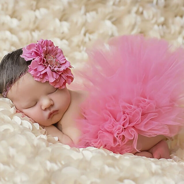 Newborn Baby Girls Head Flower Tutu Skirt Costume Infant Photo Photography Prop