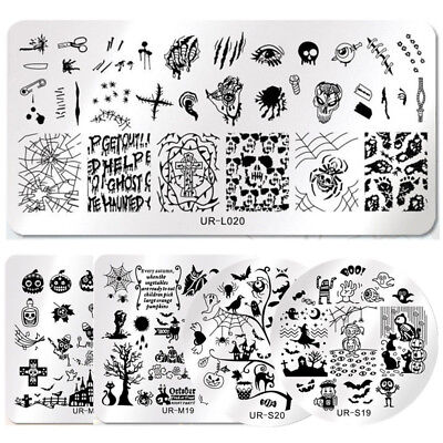 5Pcs/Set UR SUGAR Halloween Nail Stamping Plates Spider Skull Manicure Templates - Halloween Spider Nails