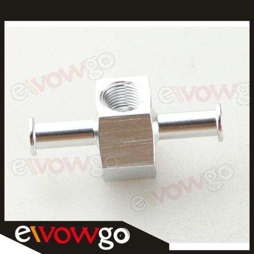 "8mm Billet Fuel Pressure Gauge Inline Barb Adapter With 1/8""Port Aluminum Silver"
