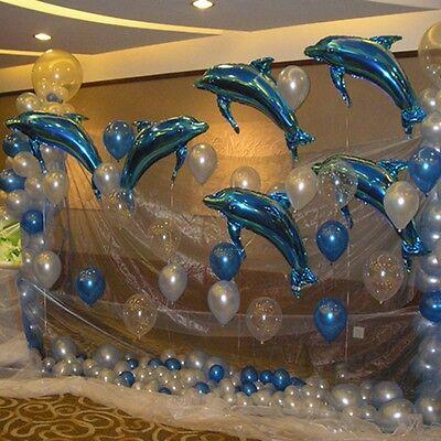 2Pcs Dolphin Foil Helium Balloons Ocean Theme Kids Birthday Wedding Party Decor