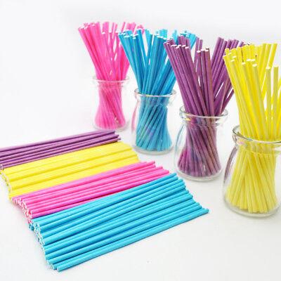 50Pcs Colorful Pop Lollipop Candy Sticks DIY Cake Chocholate Sugar Paste - Cake Pop Tools