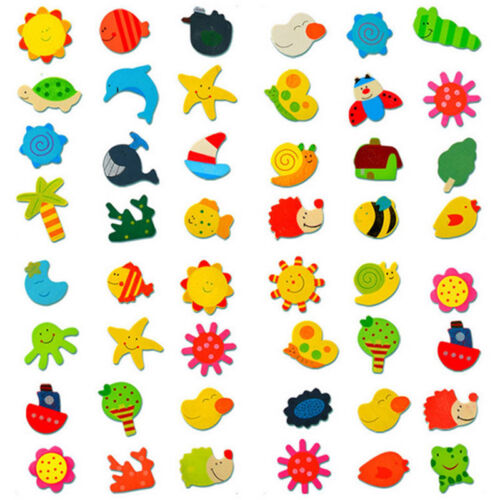 12X Colorful Wooden Various Shapes Cartoon Refrigerator Magn