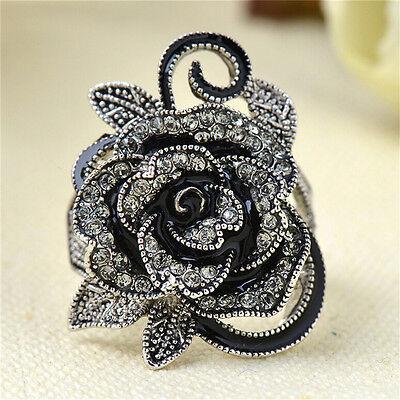 Women Retro Rose Flower Ring Black Crystal Vantige Big Flower Rings Jewelry SL ()