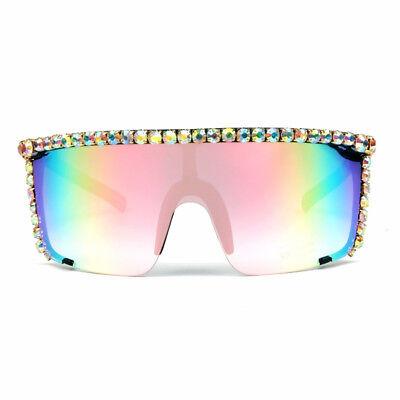 Large Rhinestone Sunglasses Bling Eyewear Goggle Wrap Monoblock Oversize - Bling Eyewear