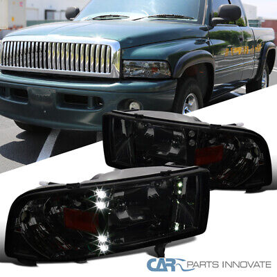 For Dodge 94-01 Ram 1500 2500 3500 Smoke LED DRL Headlights+Corner Signal Lamps