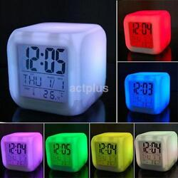 Small 7 Color LED Glowing Change Digital Glowing Alarm Thermometer Clock Cube US